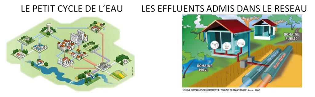Le cycle de l'eau et les effluents dans le réseau